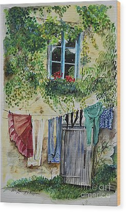 Wood Print featuring the painting Laundry Day In France by Jan Dappen