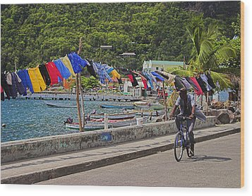 Wood Print featuring the photograph Laundry Drying- St Lucia. by Chester Williams
