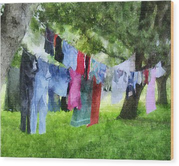 Laundry Line Wood Print by Francesa Miller
