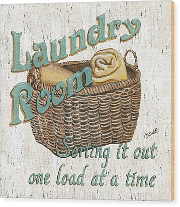 Laundry Room Sorting It Out Wood Print by Debbie DeWitt