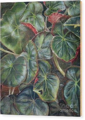 Laura's Begonia Wood Print by Karen Boudreaux