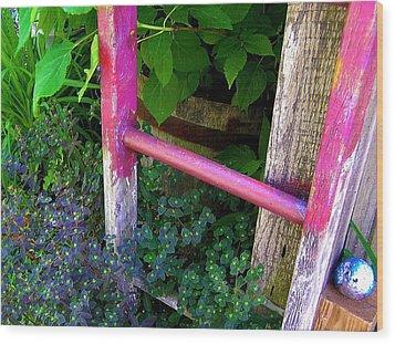 Laura's Ladder Wood Print by Jen White