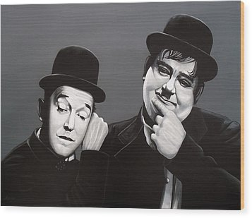 Laurel And Hardy Wood Print by Paul Meijering