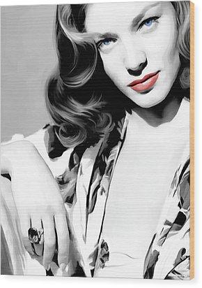 Lauren Bacall Large Size Portrait 2 Wood Print
