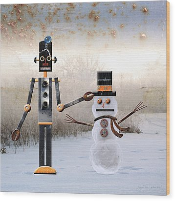 Laurence Builds A Snowman Wood Print by Joan Ladendorf