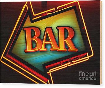 Laurettes Bar Wood Print by Barbara Teller