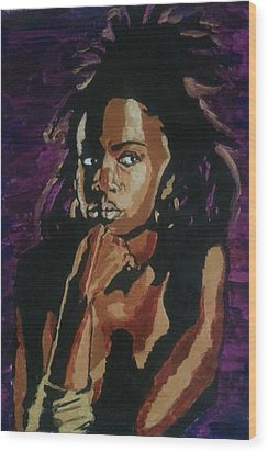 Lauryn Hill Wood Print by Rachel Natalie Rawlins