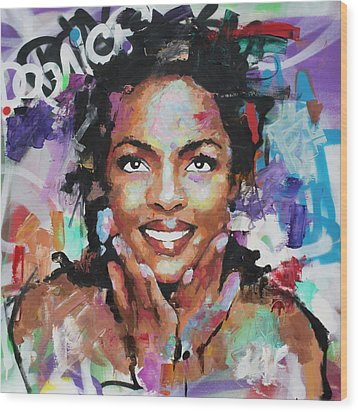Wood Print featuring the painting Lauryn Hill by Richard Day