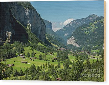 Wood Print featuring the photograph Lauterbrunnen Mountain Valley - Swiss Alps - Switzerland by Gary Whitton