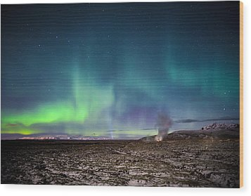 Lava And Light - Aurora Over Iceland Wood Print
