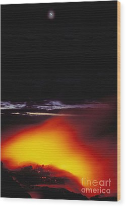 Lava And Moon Wood Print by William Waterfall - Printscapes