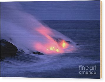 Lava And Pink Smoke Wood Print by William Waterfall - Printscapes