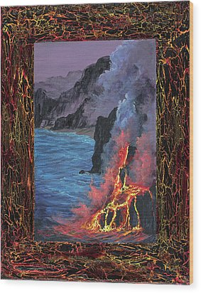 Wood Print featuring the painting Lava Flow by Darice Machel McGuire