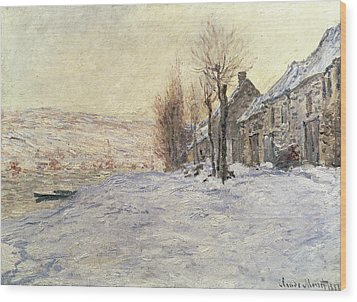 Lavacourt Under Snow Wood Print by Claude Monet