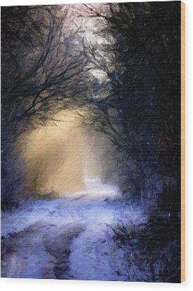 Lavander Snow  Wood Print by Michele Carter