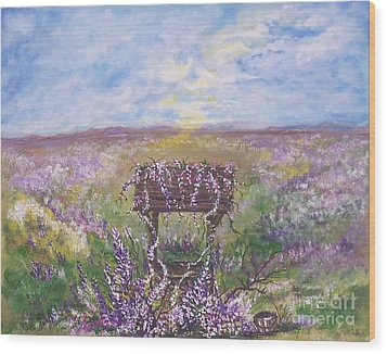 Wood Print featuring the painting Lavendar Wishes by Leslie Allen