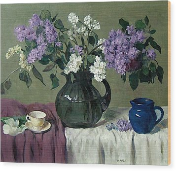 Lavender And White Lilacs With Blue Creamer And Teacup Wood Print