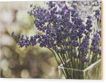 Lavender Bokeh Wood Print by Rebecca Cozart