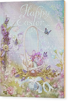 Wood Print featuring the mixed media Lavender Easter by Mo T