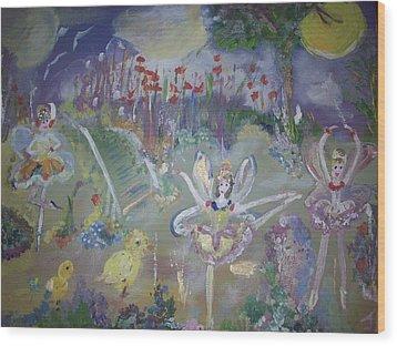 Lavender Fairies Wood Print by Judith Desrosiers