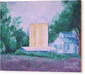 Wood Print featuring the painting Lavender Farm Albuquerque by Eric  Schiabor