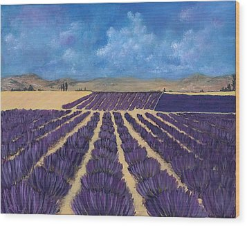 Wood Print featuring the painting Lavender Field by Anastasiya Malakhova