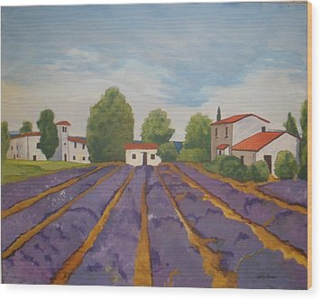 Wood Print featuring the painting Lavender Field by Betty-Anne McDonald