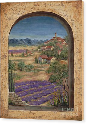 Lavender Fields And Village Of Provence Wood Print by Marilyn Dunlap