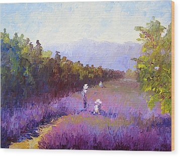 Lavender Fields Wood Print by Terry  Chacon