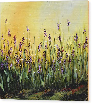 Lavender Garden Wood Print by Marti Green