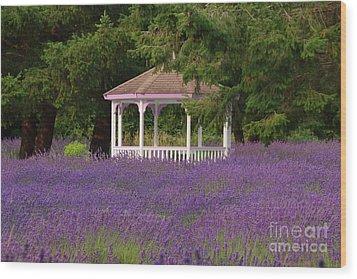 Lavender Gazebo Wood Print