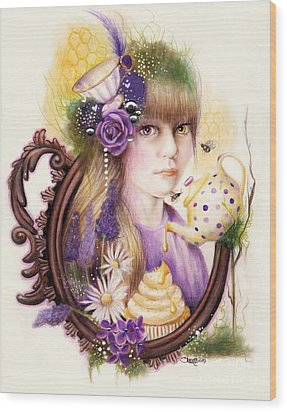 Wood Print featuring the drawing Lavender Honey by Sheena Pike