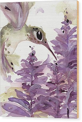 Wood Print featuring the painting Lavender Hummer by Dawn Derman