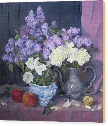 Lavender Lilacs, White Peonies, White Lisianthus, Wood Print