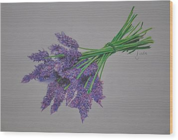 Wood Print featuring the pastel Lavender by Linda Ferreira