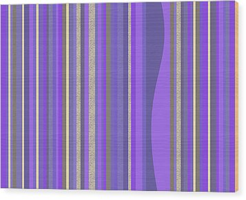 Wood Print featuring the digital art Lavender Random Stripe Abstract by Val Arie
