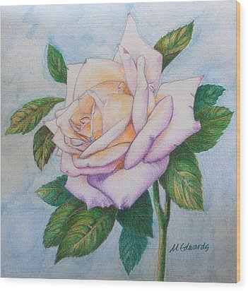 Lavender Rose Wood Print by Marna Edwards Flavell