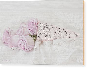 Lavender Roses And Music Wood Print by Sandra Foster