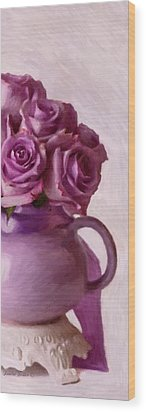 Lavender Roses And Tea Pot Wood Print by Sandra Foster