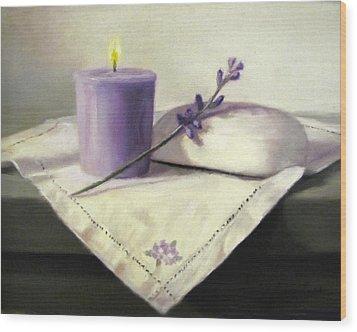 Lavender Sprig Wood Print by Linda Jacobus