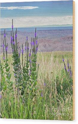 Lavender Verbena And Hills Wood Print