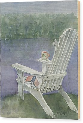 Lawn Chair By The Lake Wood Print by Arline Wagner