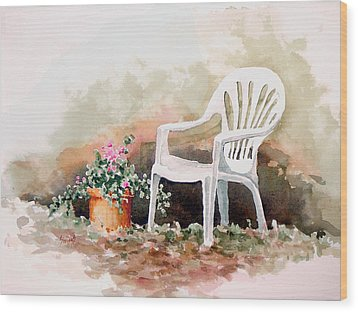 Lawn Chair With Flowers Wood Print by Sam Sidders