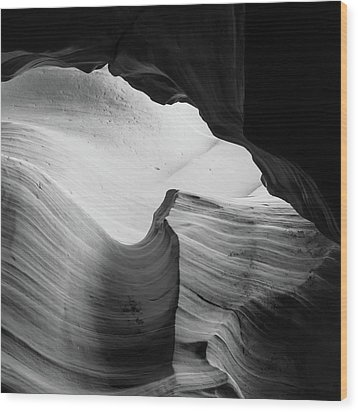 Wood Print featuring the photograph Layered Shadows - Black And White - Antelope Canyon by Gregory Ballos