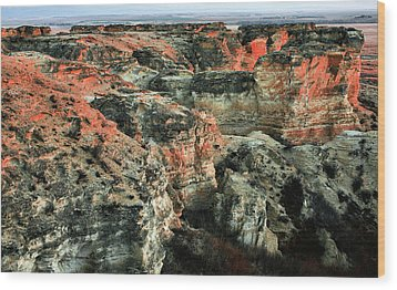 Wood Print featuring the photograph Layers In The Kansas Badlands by Kyle Findley