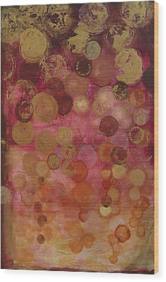 Layers Of Circles On Red Wood Print by Kristen Abrahamson