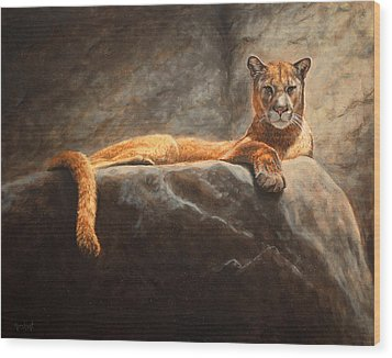 Laying Cougar Wood Print