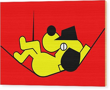 Lazy Yellow Dog Wood Print by Asbjorn Lonvig