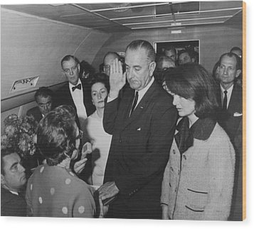Lbj Taking The Oath On Air Force One Wood Print by War Is Hell Store