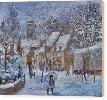 Le Cafe Breizh A Warm Welcome In The Winter Snow Wood Print by Jeanette Leuers